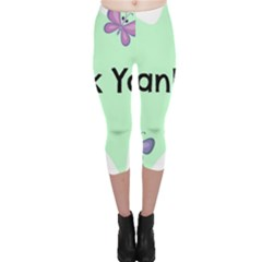 Colorful Butterfly Thank You Animals Fly White Green Capri Leggings