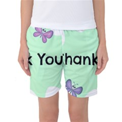 Colorful Butterfly Thank You Animals Fly White Green Women s Basketball Shorts