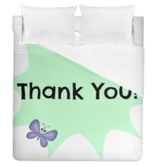 Colorful Butterfly Thank You Animals Fly White Green Duvet Cover (queen Size)