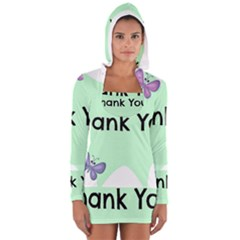 Colorful Butterfly Thank You Animals Fly White Green Women s Long Sleeve Hooded T-shirt