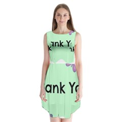 Colorful Butterfly Thank You Animals Fly White Green Sleeveless Chiffon Dress
