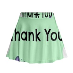 Colorful Butterfly Thank You Animals Fly White Green Mini Flare Skirt