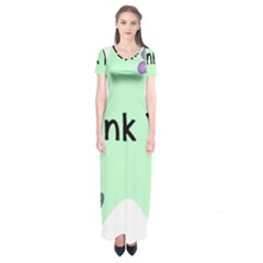 Colorful Butterfly Thank You Animals Fly White Green Short Sleeve Maxi Dress