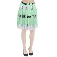 Colorful Butterfly Thank You Animals Fly White Green Pleated Skirt