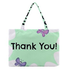Colorful Butterfly Thank You Animals Fly White Green Medium Zipper Tote Bag