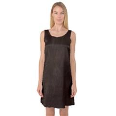 Bear Skin Animal Texture Brown Sleeveless Satin Nightdress