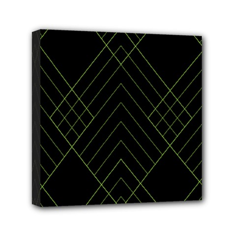 Diamond Green Triangle Line Black Chevron Wave Mini Canvas 6  x 6