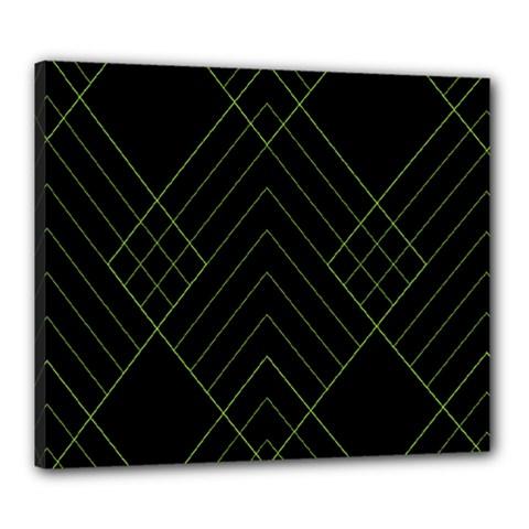 Diamond Green Triangle Line Black Chevron Wave Canvas 24  x 20