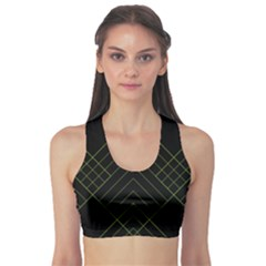 Diamond Green Triangle Line Black Chevron Wave Sports Bra