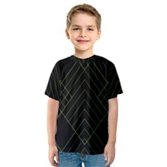 Diamond Green Triangle Line Black Chevron Wave Kids  Sport Mesh Tee