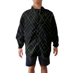 Diamond Green Triangle Line Black Chevron Wave Wind Breaker (Kids)
