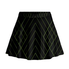 Diamond Green Triangle Line Black Chevron Wave Mini Flare Skirt