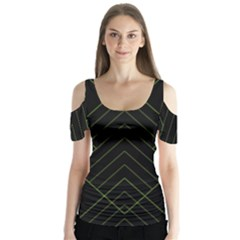 Diamond Green Triangle Line Black Chevron Wave Butterfly Sleeve Cutout Tee
