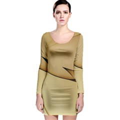 Edge Gold Wave Long Sleeve Bodycon Dress