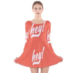 Hey White Text Orange Sign Long Sleeve Velvet Skater Dress