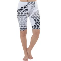 Honeycomb Swan Animals Black White Plaid Cropped Leggings