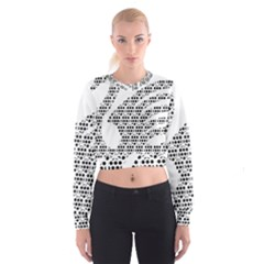 Honeycomb Swan Animals Black White Plaid Women s Cropped Sweatshirt