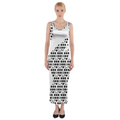 Honeycomb Swan Animals Black White Plaid Fitted Maxi Dress