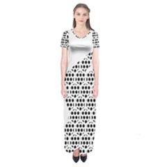 Honeycomb Swan Animals Black White Plaid Short Sleeve Maxi Dress