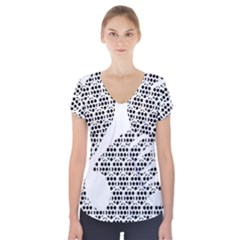 Honeycomb Swan Animals Black White Plaid Short Sleeve Front Detail Top