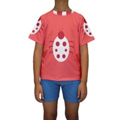 Little Butterfly Illustrations Beetle Red White Animals Kids  Short Sleeve Swimwear