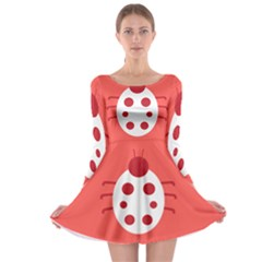 Little Butterfly Illustrations Beetle Red White Animals Long Sleeve Skater Dress
