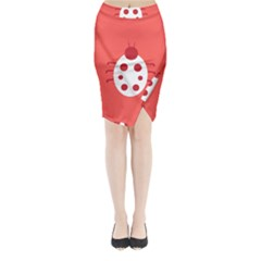 Little Butterfly Illustrations Beetle Red White Animals Midi Wrap Pencil Skirt