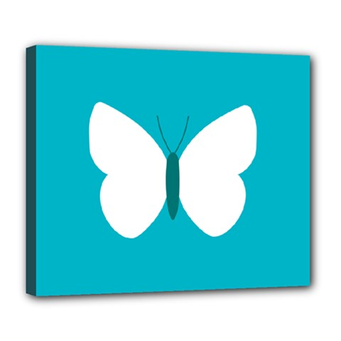 Little Butterfly Illustrations Animals Blue White Fly Deluxe Canvas 24  x 20