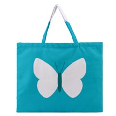 Little Butterfly Illustrations Animals Blue White Fly Zipper Large Tote Bag