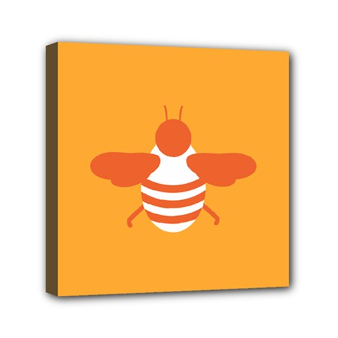 Littlebutterfly Illustrations Bee Wasp Animals Orange Honny Mini Canvas 6  x 6