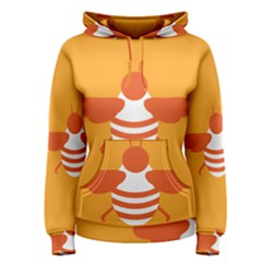 Littlebutterfly Illustrations Bee Wasp Animals Orange Honny Women s Pullover Hoodie