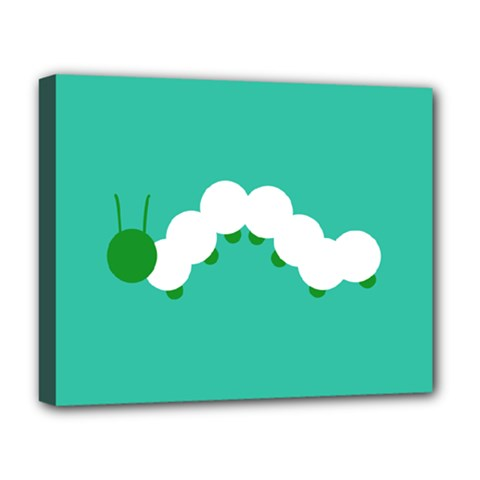 Little Butterfly Illustrations Caterpillar Green White Animals Deluxe Canvas 20  x 16