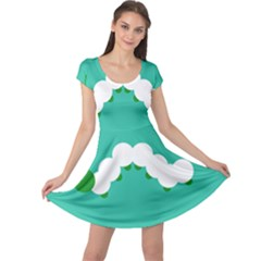 Little Butterfly Illustrations Caterpillar Green White Animals Cap Sleeve Dresses