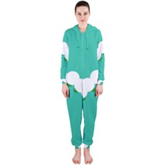 Little Butterfly Illustrations Caterpillar Green White Animals Hooded Jumpsuit (Ladies)