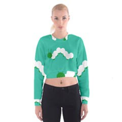 Little Butterfly Illustrations Caterpillar Green White Animals Women s Cropped Sweatshirt