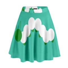 Little Butterfly Illustrations Caterpillar Green White Animals High Waist Skirt