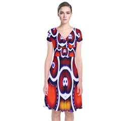 Nibiru Power Up Short Sleeve Front Wrap Dress