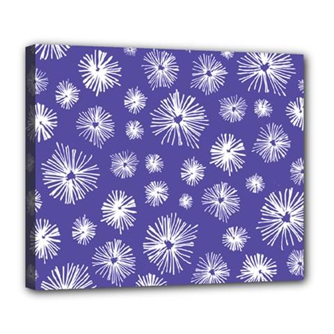 Aztec Lilac Love Lies Flower Blue Deluxe Canvas 24  x 20