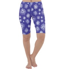 Aztec Lilac Love Lies Flower Blue Cropped Leggings