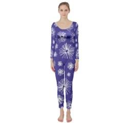 Aztec Lilac Love Lies Flower Blue Long Sleeve Catsuit
