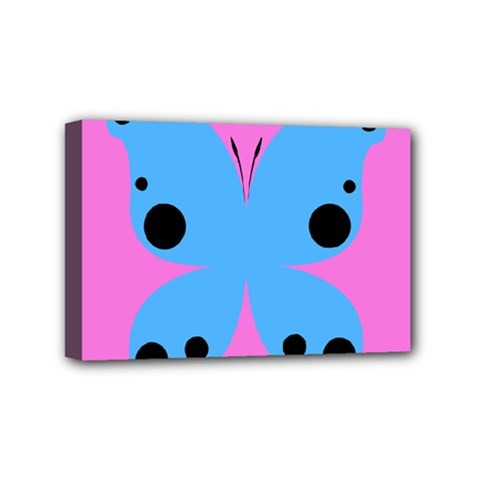 Pink Blue Butterfly Animals Fly Mini Canvas 6  x 4