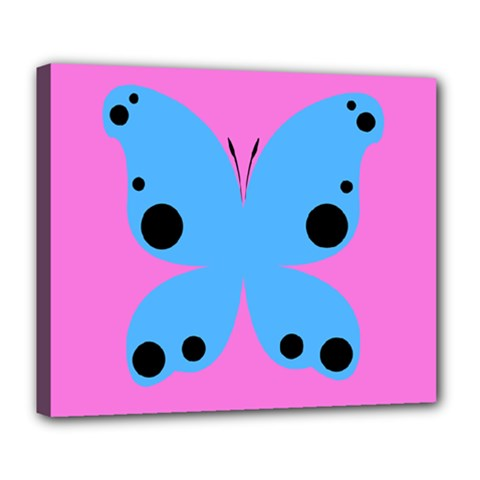 Pink Blue Butterfly Animals Fly Deluxe Canvas 24  x 20