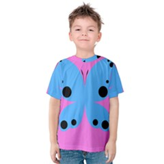 Pink Blue Butterfly Animals Fly Kids  Cotton Tee