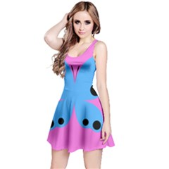 Pink Blue Butterfly Animals Fly Reversible Sleeveless Dress