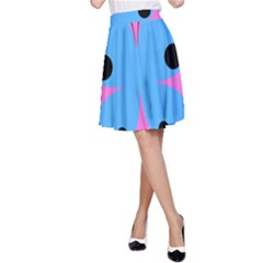 Pink Blue Butterfly Animals Fly A-Line Skirt