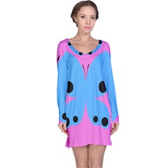Pink Blue Butterfly Animals Fly Long Sleeve Nightdress