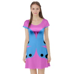 Pink Blue Butterfly Animals Fly Short Sleeve Skater Dress