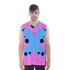 Pink Blue Butterfly Animals Fly Men s Basketball Tank Top