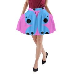 Pink Blue Butterfly Animals Fly A-Line Pocket Skirt