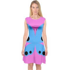Pink Blue Butterfly Animals Fly Capsleeve Midi Dress